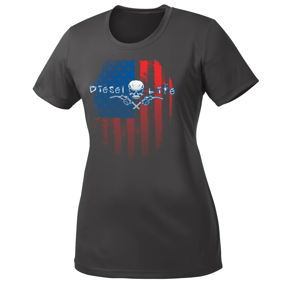 Women's American Flag Short Sleeve T-Shirt - Dark Gray